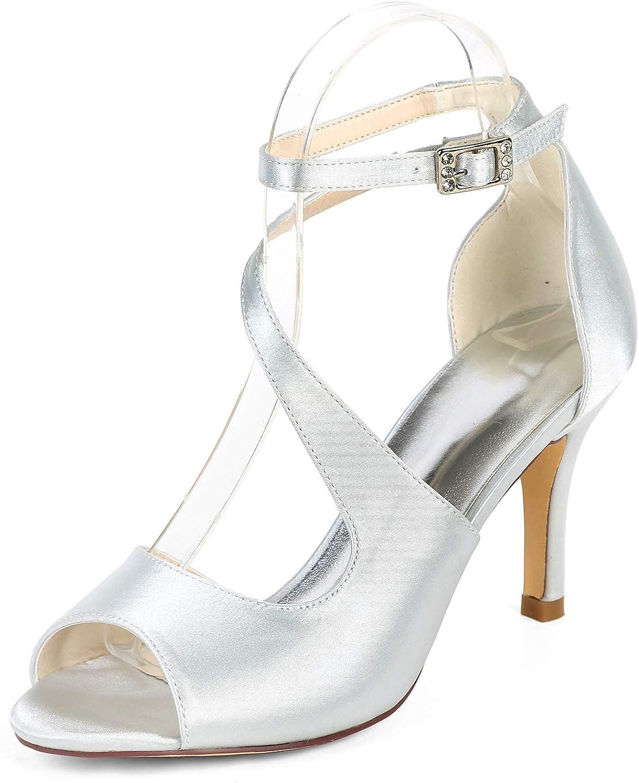 LLBubble High Heels Bridal Sandals Peep Toe Ankle Strap Satin shoes Woman 9920-19