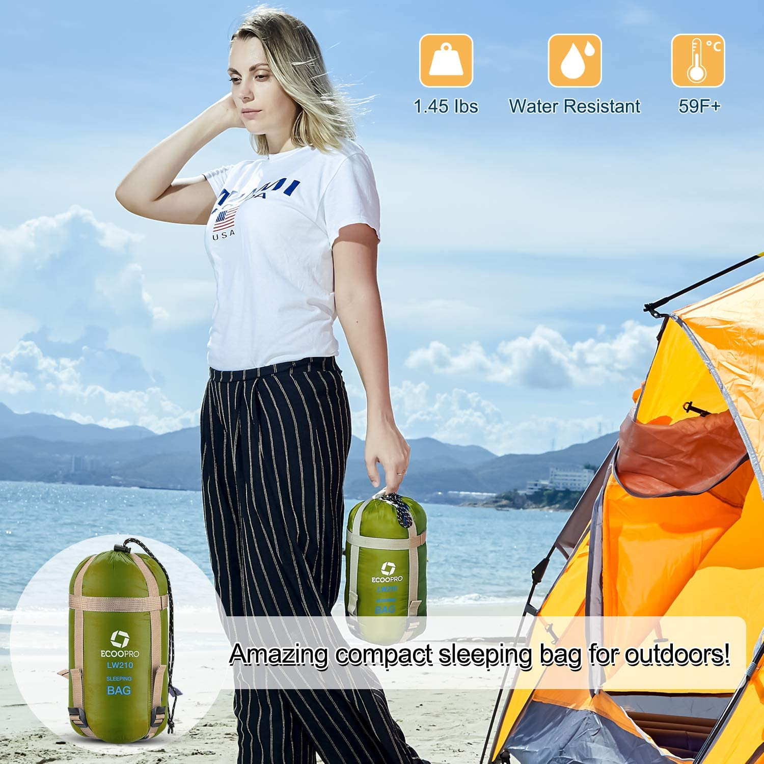 Portable ECOOPRO Warm Weather Sleeping Bag Waterproof Great for Outdoor Camping Comfort with Compression Sack Backpacking /& Hiking-83 L x 30 W Fits Adults Compact Lightweight