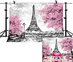 Eiffel Tower Backdrop Photography Photo Booth Studio Props for Baby Show Decoration Cake Table Photo Background Pink Floral Paris Birthday Party Supplies 7x5ft Vinyl Wedding Bridal Shower