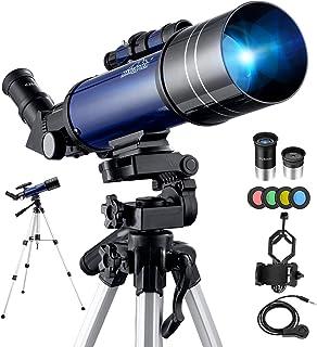 BEBANG Telescopio Astronómico, HD Telescopio de refracción de 70 mm con Adaptador de Teléfono, Filtro de Luna, 2 oculares,...