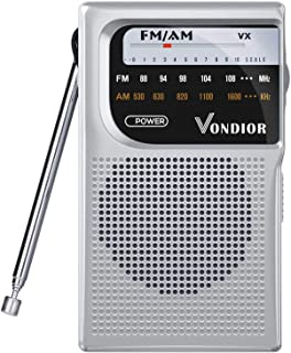 Best AM FM Battery Operated Portable Pocket Radio - Best Reception and Longest Lasting. AM FM Compact Transistor Radios Player Operated by 2 AA Battery, Mono Headphone Socket, by Vondior (Silver) Review