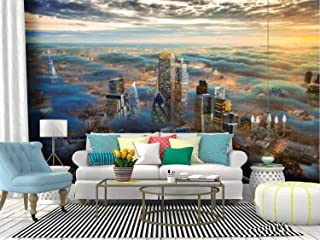 the city of london of the future above the clouds skyline at sunsets Canvas Print Wallpaper Wall Mural Self Adhesive Peel & Stick Wallpaper Home Craft Wall Decal Wall Poster Sticker for Living Room