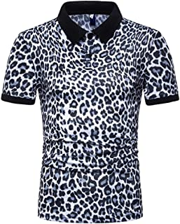 Beautyfine Leopard Print Shirts for Men Fashion Short Sleeve Stripe Large Casual Top Blouse Silm Fit