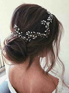 YERTTER Bridal Rhinestones Gold Silver and Rose Gold Handmade Headbands for Wedding Party Crystal Floral Leaf Bridal Hair ...