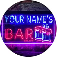 Personalized Your Name Est Year Theme Bar Beer Mug Decoration Dual Color LED Neon Sign Red & Blue 600 x 400mm st6s64-w1-tm-rb