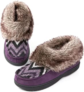 Faux Fur Bootie Slippers, Memory Foam Winter House Shoes
