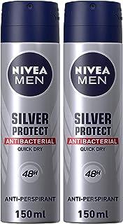 NIVEA Silver Protect Antiperspirant Spray for Men, 2 x 150 ml