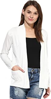 Espresso Women's Full Sleeve Front Open Viscose Shrug/Cardigan with Pockets - Off-White