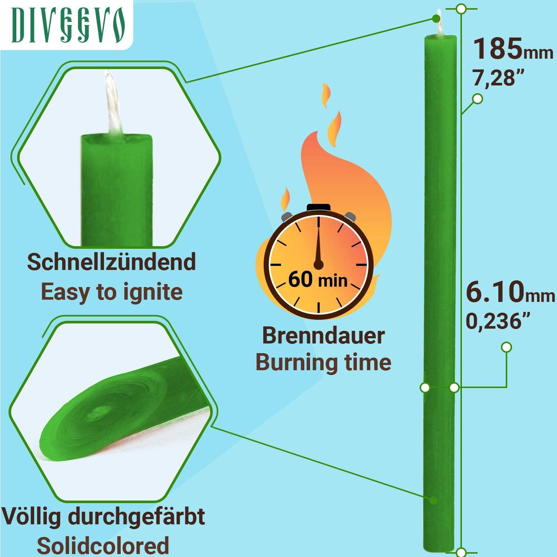 Diam/ètre : 6,1 mm 185 mm Qualit/é sup/érieure Parfum miel No80 Diveevo Lot de 50 bougies en cire dabeille