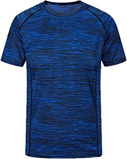 DIKEWANG Men's New Summer Round Neck Loose Size Sports Fitness Neckline Short Sleeve Short Sleeves Fast Dry Basic Shirt To...