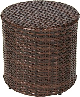 NAKSHOP Outdoor Wicker Ottoman Small Patio Furniture Round Footrest Coffee Table Stool Seat Espesso Brown Modern Rest Hassock Lawn and Garden Backyard All Weather Resistant Rattan and eBook