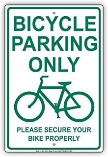 Bicycle Parking Only With Graphic Please Secure Bike Properly Alert Caution Warning Notice Aluminum Metal Tin 8