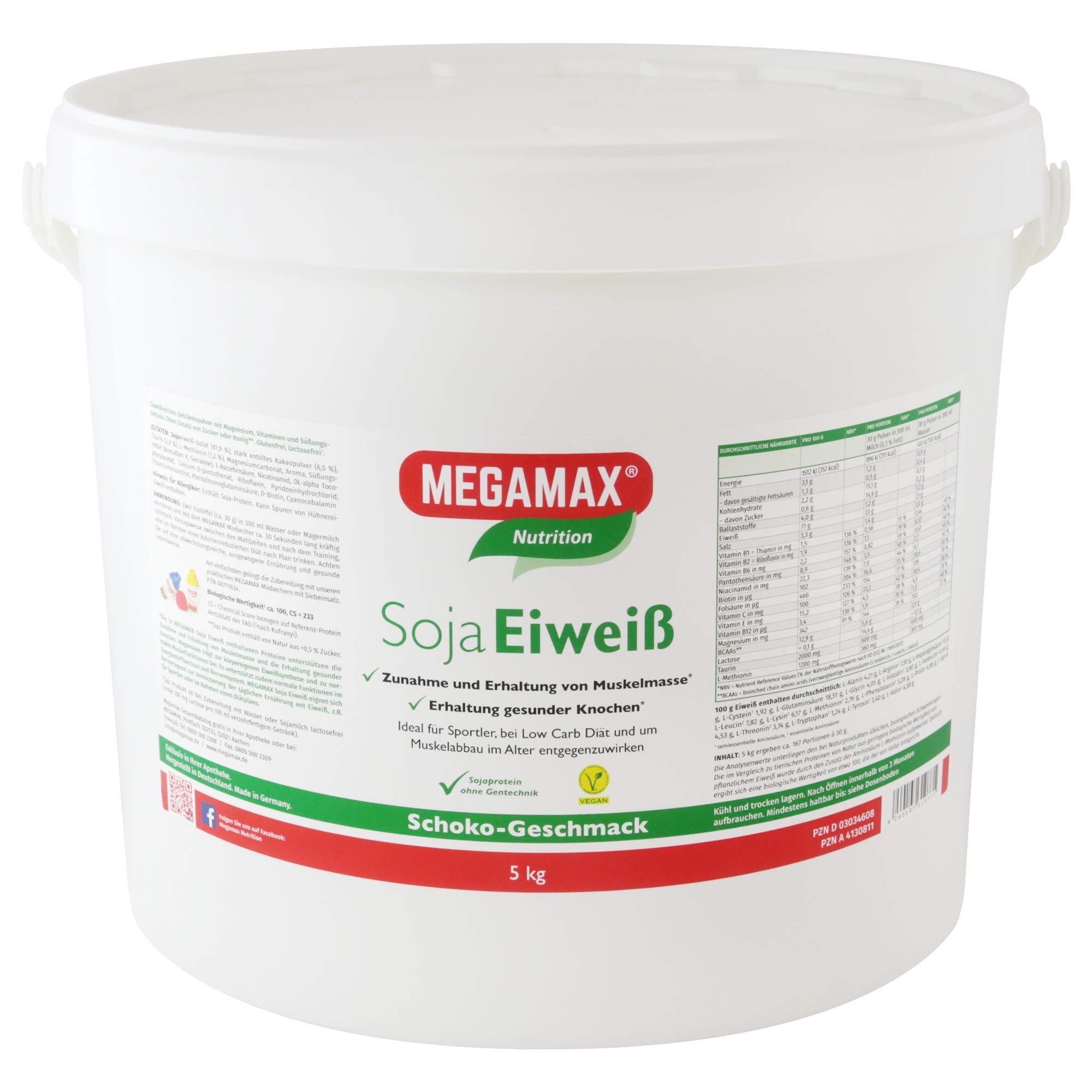 MEGAMAX - Soja Eiweiss - Proteínas de soja - Crecimiento muscular y dieta - Valor biológico aprox. 100 - Chocolate - 5 kg: Amazon.es: Deportes y aire libre