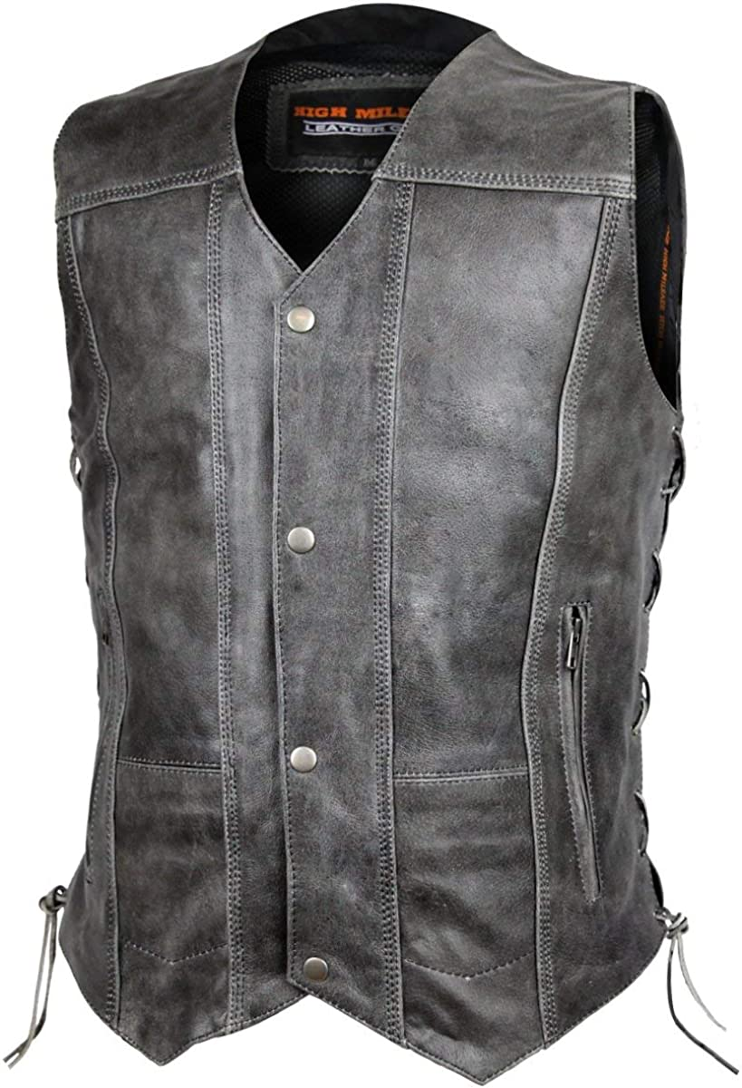 Men's High Mileage Distressed Gray 10 Pocket Vest