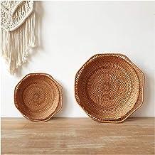 MAHFEI Round Woven Bread Roll Basket, Pastoral Style Fruit Basket Set Restaurant Serving Baskets Rattan Hand Woven Storage...