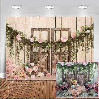 Mehofoto - Tela de fondo para niña, 7 x 5 cm, diseño rústico con flores rosas