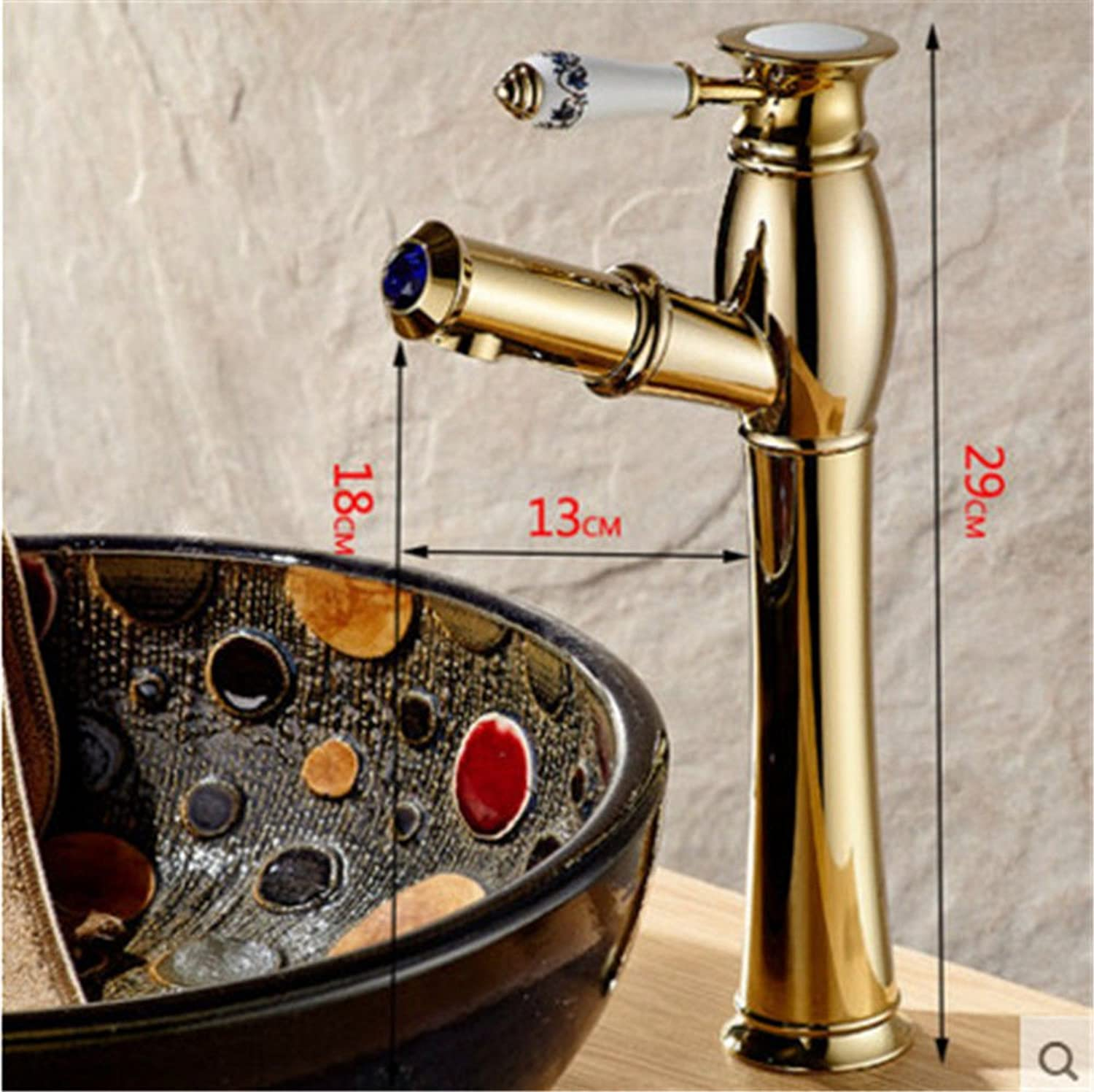 Gyps Faucet Basin Mixer Tap Waterfall Faucet Antique Bathroom ?Antique kitchen faucet ceramic switch single-full copper Mixer Taps and cold water pull basin mixer J
