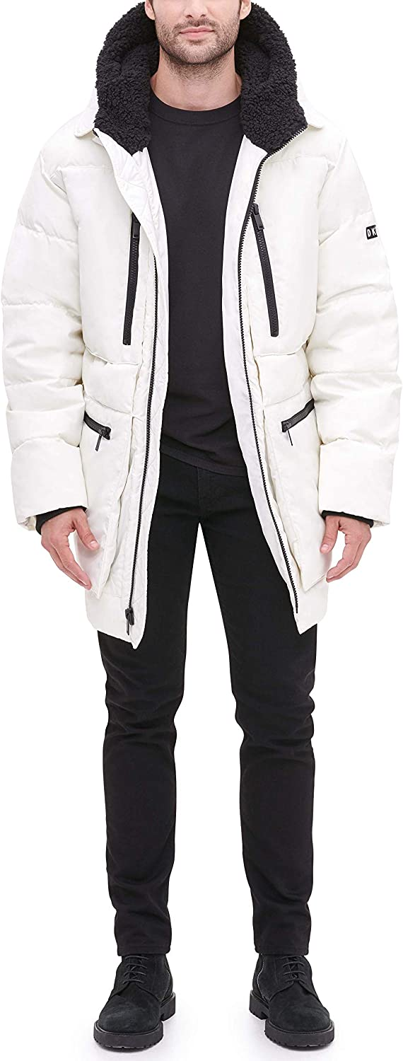 DKNY Herren Ultra Loft Full Length Quilted Parka with Sherpa Lined Hood Anorak