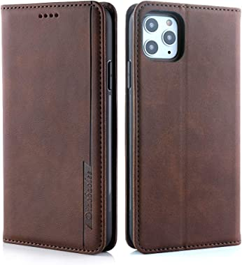 RuiJinHao iPhone X Flip Case Leather Cover Cell Phone Cover Extra-Protective Business Card Holders Kickstand One Card Slot Brief Pure Color (Coffee)