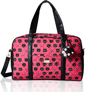 Betsey Johnson Luv CruzIn Cotton Quilted Carry On Weekender Travel Duffel Bag - Fuschia/Black Kitty Face