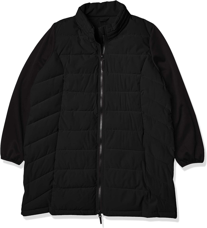Marc New York Performance Women's Plus Size Puffer Coat with High-tech Fleece Sleeves