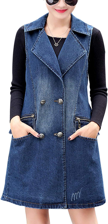 Flygo Women's Casual Sleeveless Long Denim Jean Vest Jacket Coats
