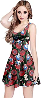 CowCow Womens Unicorn Alice Wonderland Rabbit Princess Aladdin Drawfs Mermaid Sleeveless Dress, XS-5XL
