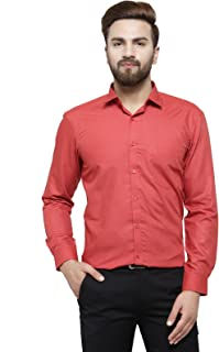 RG Designers Red Solid Slim Fit Full Sleeve Cotton Formal Shirt