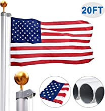 Gientan 20FT Sectional Flag Pole Kit with 3x5 US 100% Polyester Flag, Extra Thick Aluminum Heavy Duty American Inground Flagpole Set with Stainless Steel Clips for Commercial or Residential, Silver