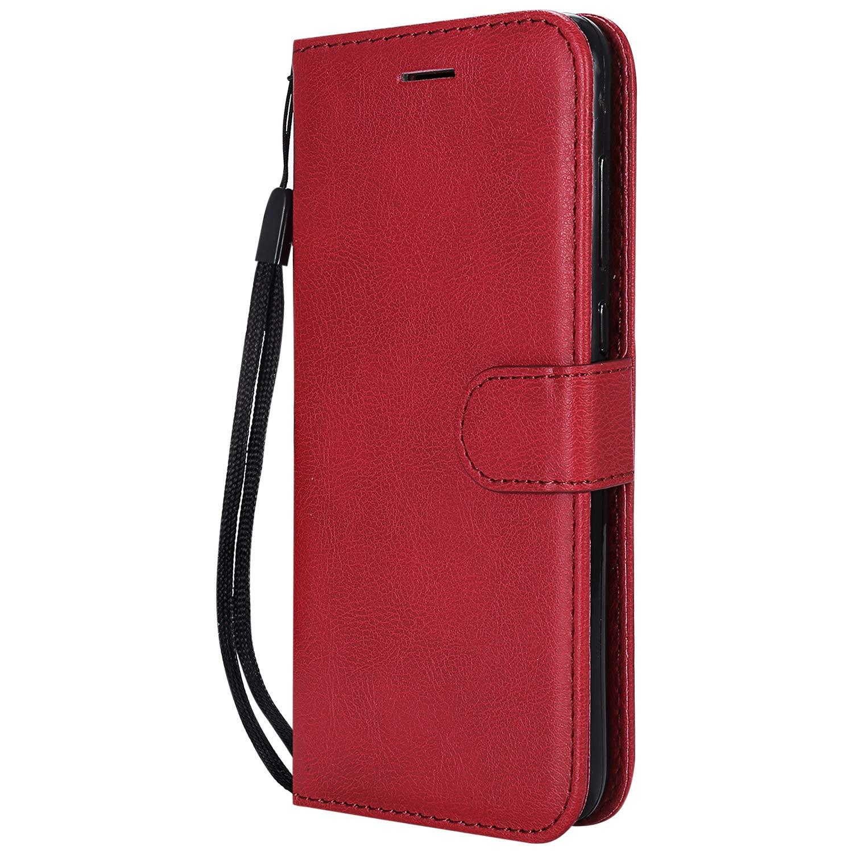 NEXCURIO Huawei Nova Lite ケース 手帳型 PU レザーケース 耐衝撃 カード収納 スタンド機能 マグネット式 ファーウェイNovaLite ケース 携帯カバー おしゃれ - NEKTU13129 赤