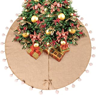AerWo 48 Inch Natural Burlap Christmas Tree Skirts, 3D Pompom Tree Skirt for Xmas Holiday Party Decorations Indoor Outdoor