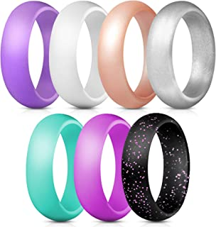 Silicone Rings, 7 Rings / 1 Ring Wedding Bands for Women - 5.5 mm Wide - 2mm Thick