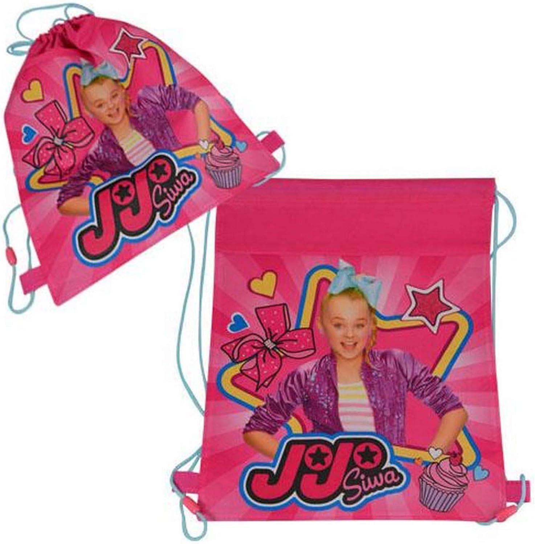 JoJo Siwa 14 Inch Sling Drawstring Cinch Sack Bag Totes Pink- 1PC, Pink, Multi