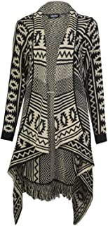 Womens Aztec Stripe Diamond Print Tassel Waterfall Knitted Wrap Frill Cardigan