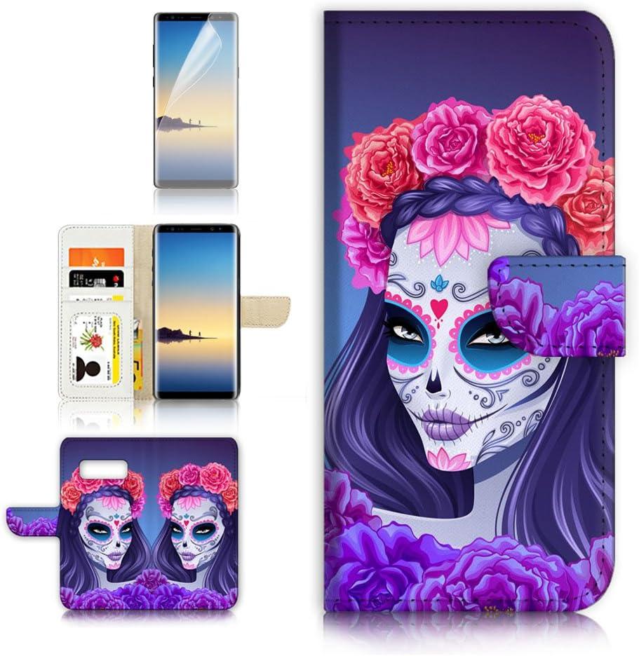 (for Samsung Galaxy S10) Flip Wallet Case Cover & Screen Protector Bundle - A20256 Sugar Skull