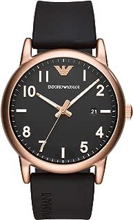 Men's Sport Stainless Steel Quartz Watch with Rubber Strap, Black, 20 (Model: AR11097)