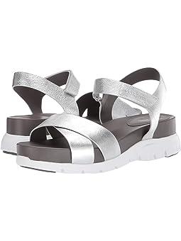 콜한 샌들 Cole Haan Zerogrand Crisscross Sandal,Silver Leather/Stormcloud Footbed/Optic White