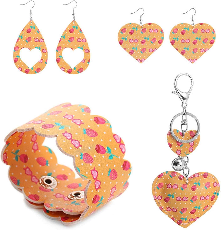 Valentine's Day Faux Leather Dangle Earrings Bracelet Keychain Jewelry Set Handmade Lightweight Heart-Shaped Print Teardrop Earrings Bangle for Wife Mom Girlfriend Valentine's Day Jewelry