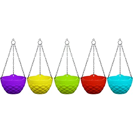Khoji Diamond Hanging Pots, Set of 5 Multicolored Pots