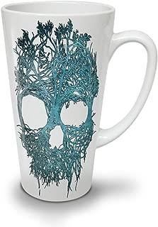 Nature Tree Metal Skull Latte Mug, Angel Coffee Cup - Comfortable Handle, Two Side Print, Sturdy Ceramics By Wellcoda