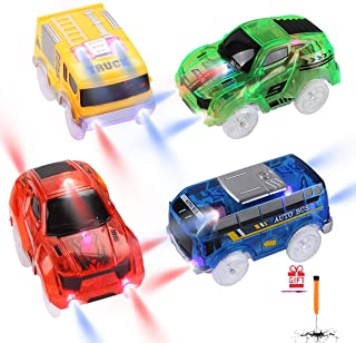 Tracks Cars Replacement only, Cars on Track Toys for Magic Tracks Glow in The Dark, Racing Car Tracks Accessories with 5 F...