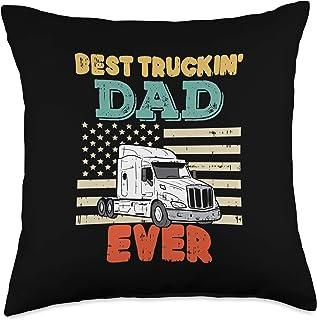 BoredKoalas Truck Pillows Trucker Driver Gift American Flag Best Truckin Dad Truck Driver Trucker Men Gift Throw Pillow, 1...