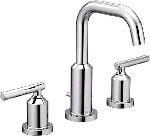 2021 Moen T6142 Gibson Two-Handle online lowest 8-Inch Widespread High Arc Modern Bathroom Sink Faucet, Valve Required, Chrome outlet sale