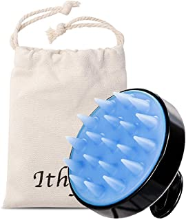 Ithyes Shampoo Brush Silicon Scalp Massager Hair Brush Wet Dry Comb Head Rubber Care Improve Blood Circulation for Men,Women,Pets, Black