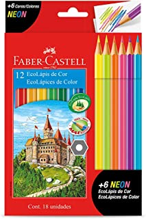 Lápis de Cor EcoLápis 12 Cores + 6 Neon, Faber-Castell