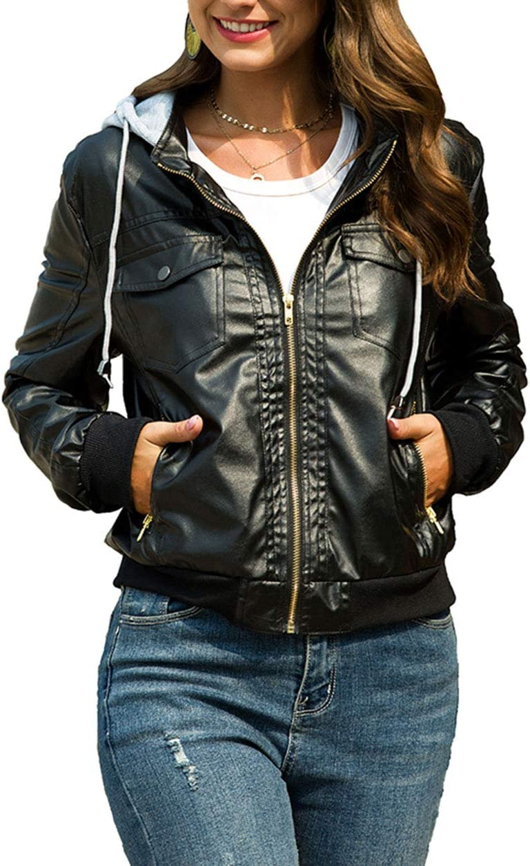 YINSY Womens Slim Faux Leather Short Jacket with Removable Hooded,Black,3XL