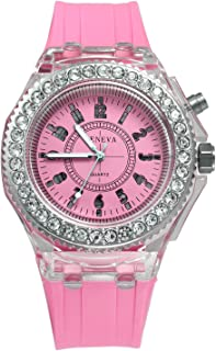 Laides 7 Color Light Fun Play Watch With Bling Rhinestone Bezel(Pink)