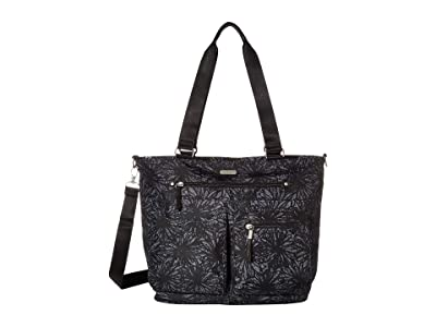 Baggallini New Classic Any Day Tote with RFID Phone Wristlet (Onyx Floral) Tote Handbags