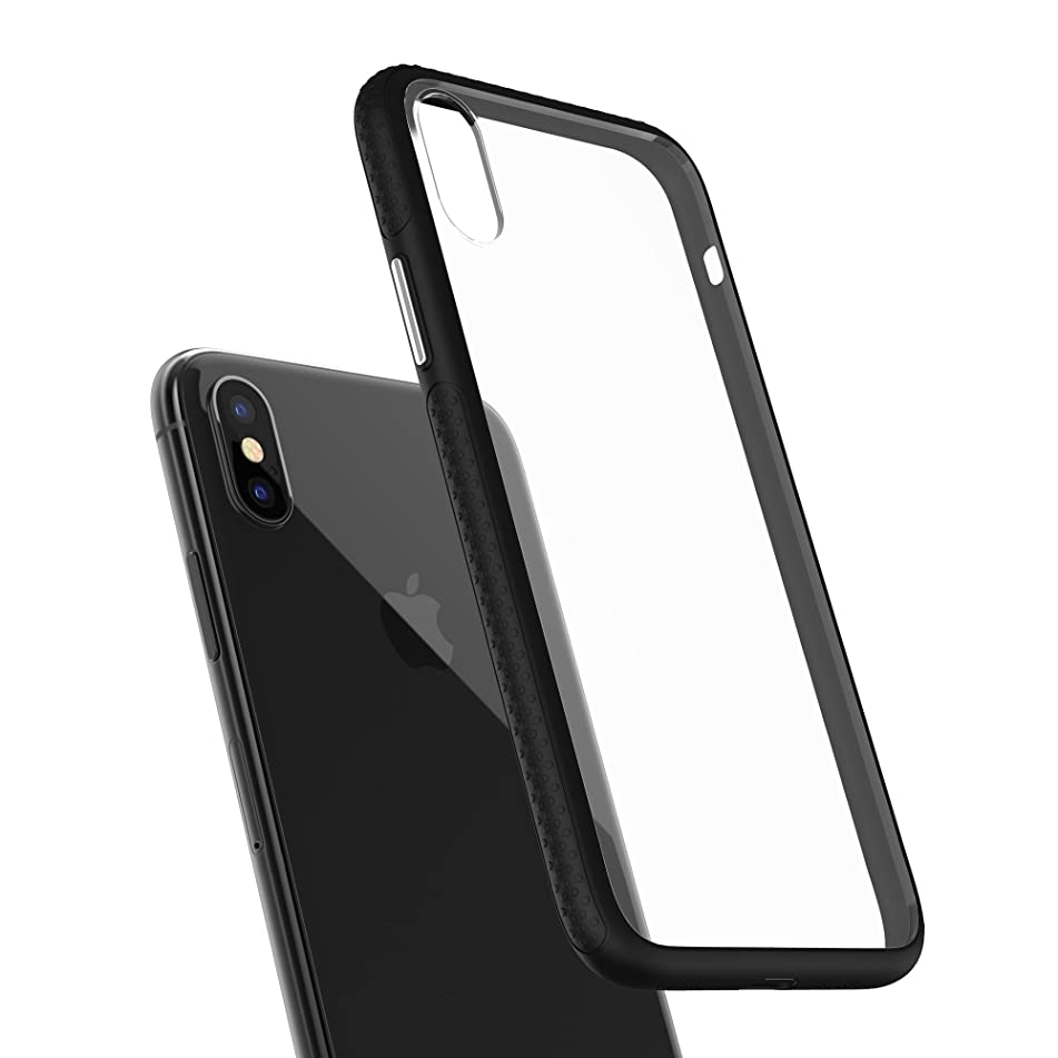 IPhone X Hybrid Clear Case with 2-Pack Tempered Glass Screen Protector. Firm Grip, Black Frame, Hard Back Panel - [Alum. Buttons] - Clear
