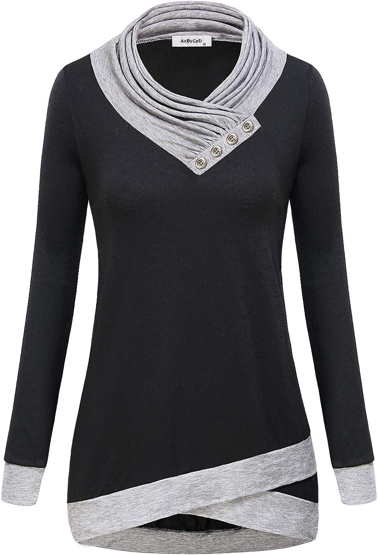 AxByCzD Women's Cowl Neck Long Sleeve Color Block Casual Tunic Tops Sweatshirt